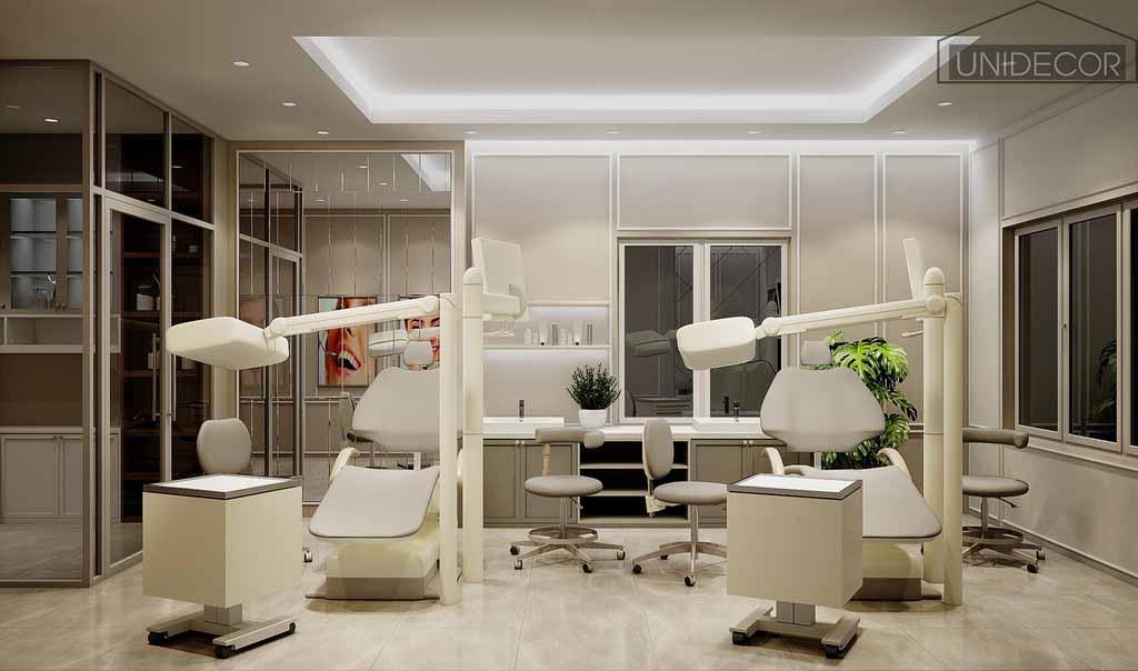 Nội thất phòng khám trang bị máy móc, ghế khám bệnh nhân