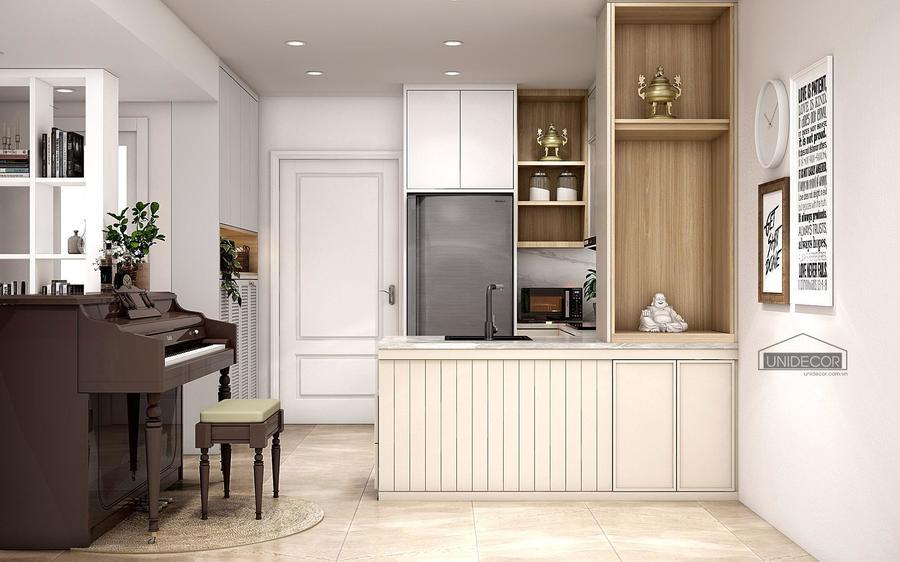 Phòng bếp được thiết kế tối giản