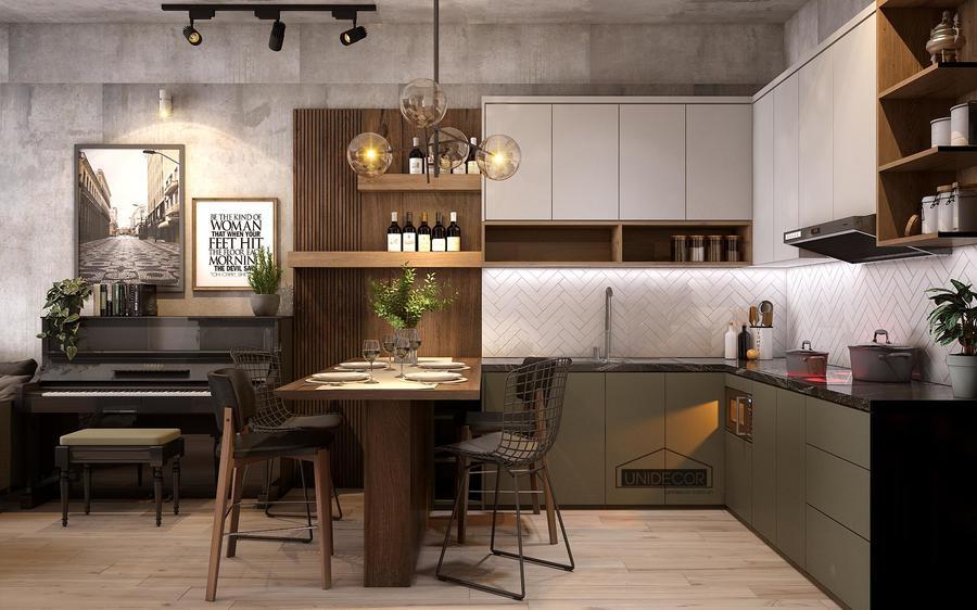 Nội thất phòng bếp với tông màu trắng xám - nội thấ Unidecor