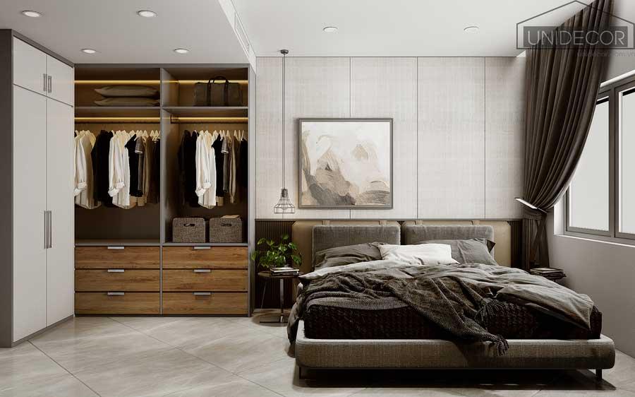phòng ngủ giường thiết kế tông màu trắng xám