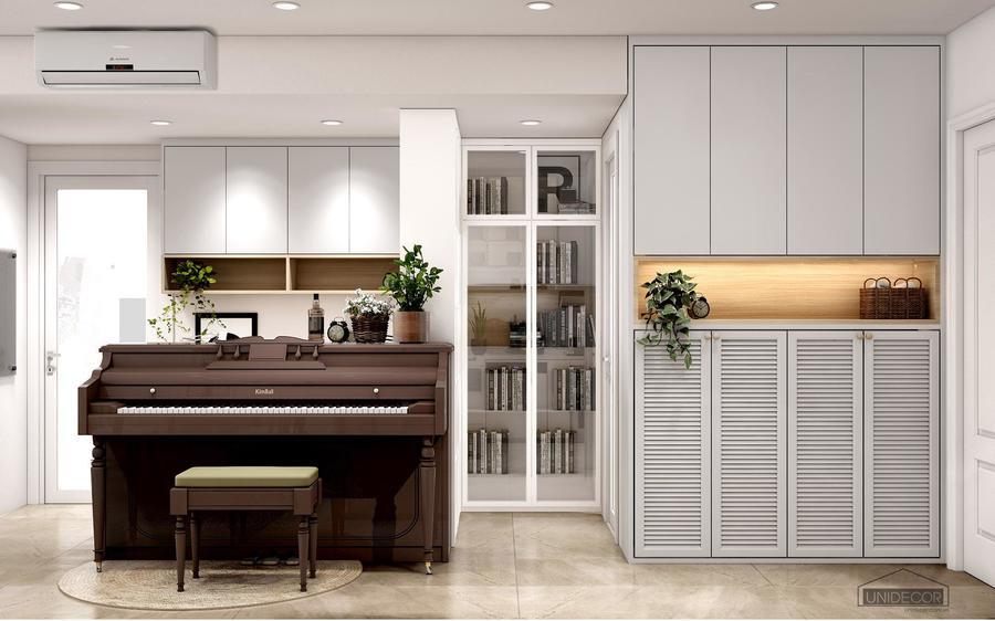 Đàn piano tạo nên không gian sang trọng cho phòng khách
