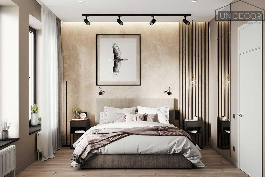 Phòng ngủ cho vợ chồng phối màu hài hòa giữa các vật thể