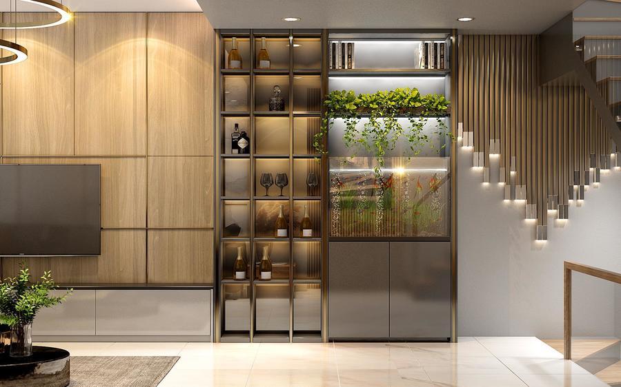 Thiết kế tủ rượu đặt tại phòng ăn