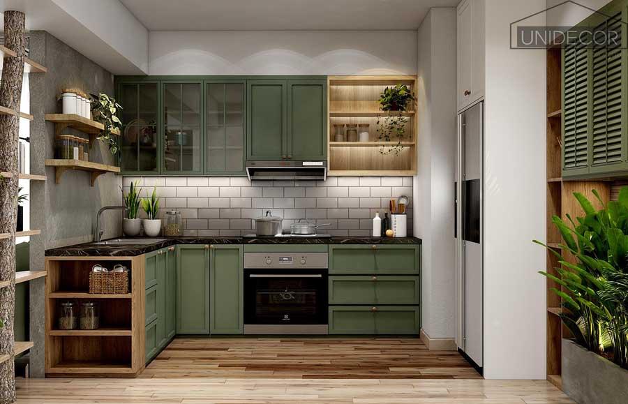 Decor phòng bếp căn hộ hiện đại đủ tiện nghi
