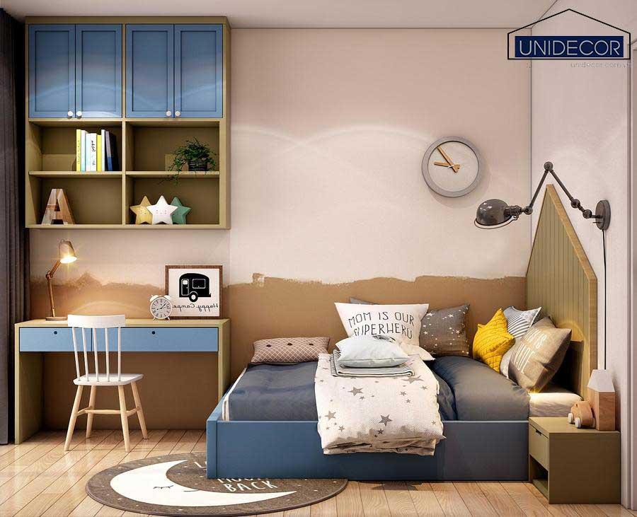 Phòng ngủ cho bé kết hợp bàn học tập