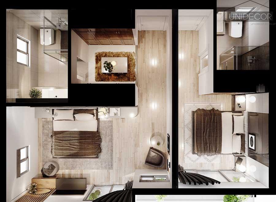 Tổng quan nội thất phòng ngủ và toilet