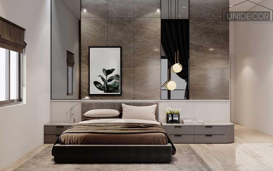 Phòng ngủ nhà phố được thiết kế rộng rãi