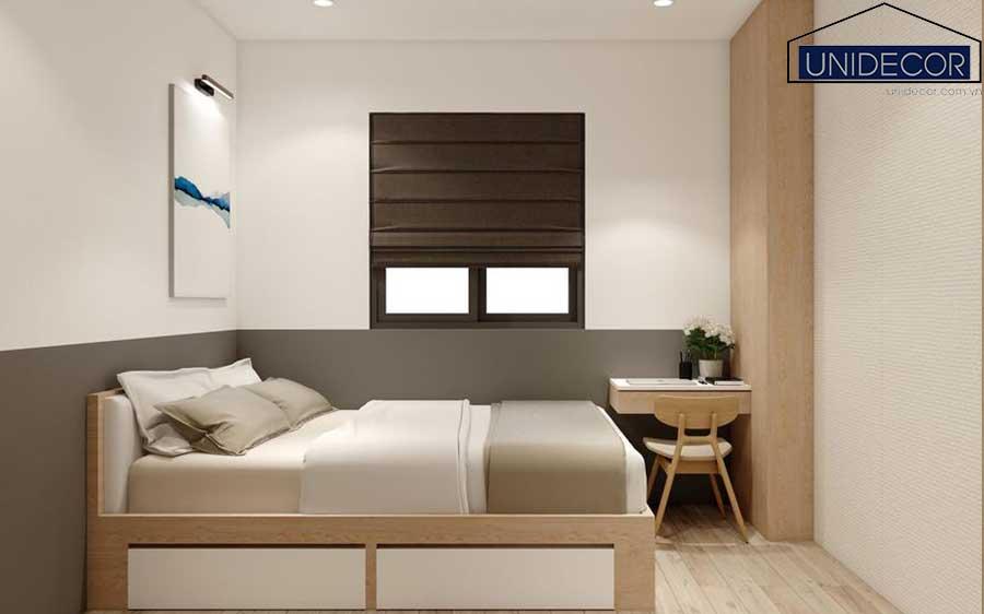 Phòng ngủ thiết kế theo tông màu sáng trắng, sạch sẽ