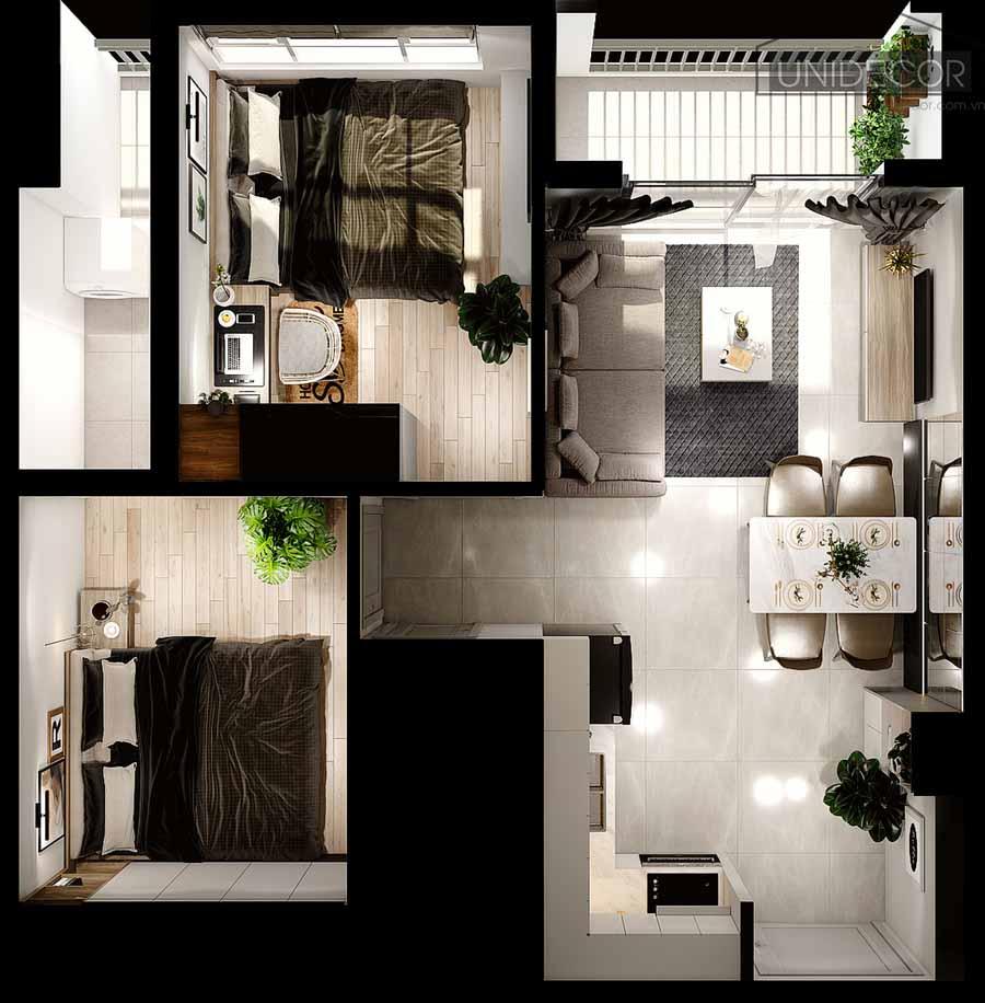 Tổng thể nội thất căn hộ 65m2 2 phòng ngủ