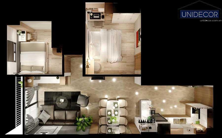 Thiết kế mặt bằng căn hộ 74m2 2 phòng ngủ tại Dalat phong cách hiện đại
