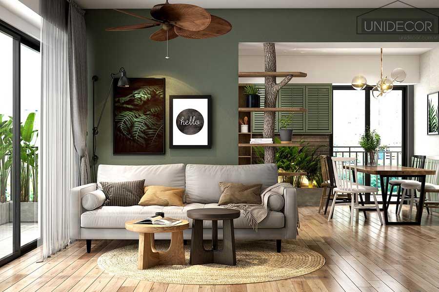Phòng khách căn hộ đẹp với bộ ghế sofa tạo nên sự hài hòa