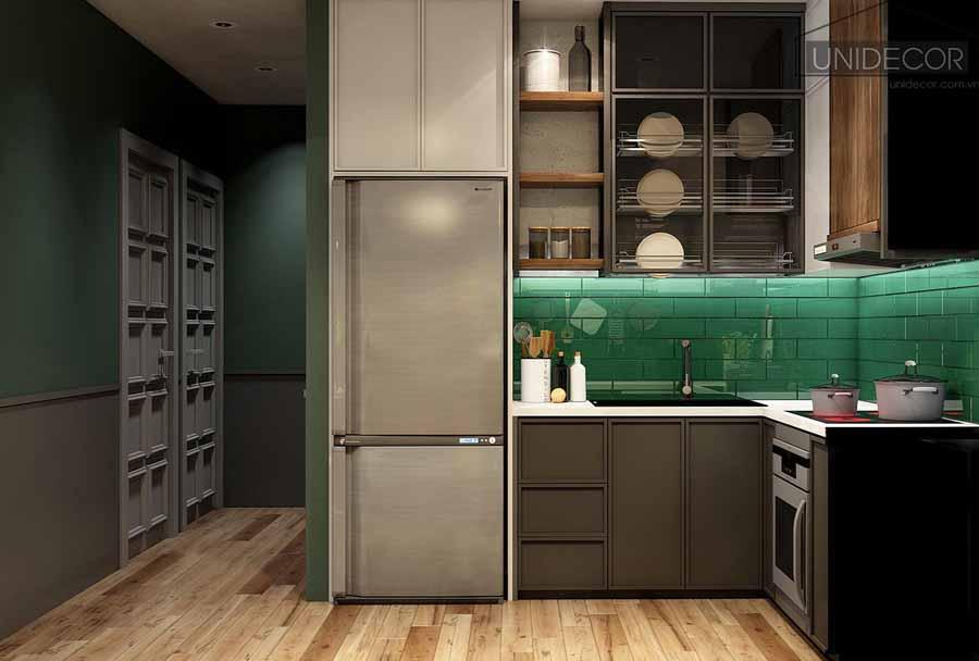 Phòng bếp sử dụng tủ chất liệu cao cấp