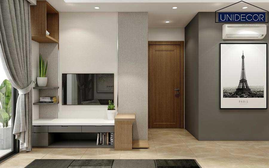 Không gian phòng khách tối giản, trang bị đủ tiện nghi