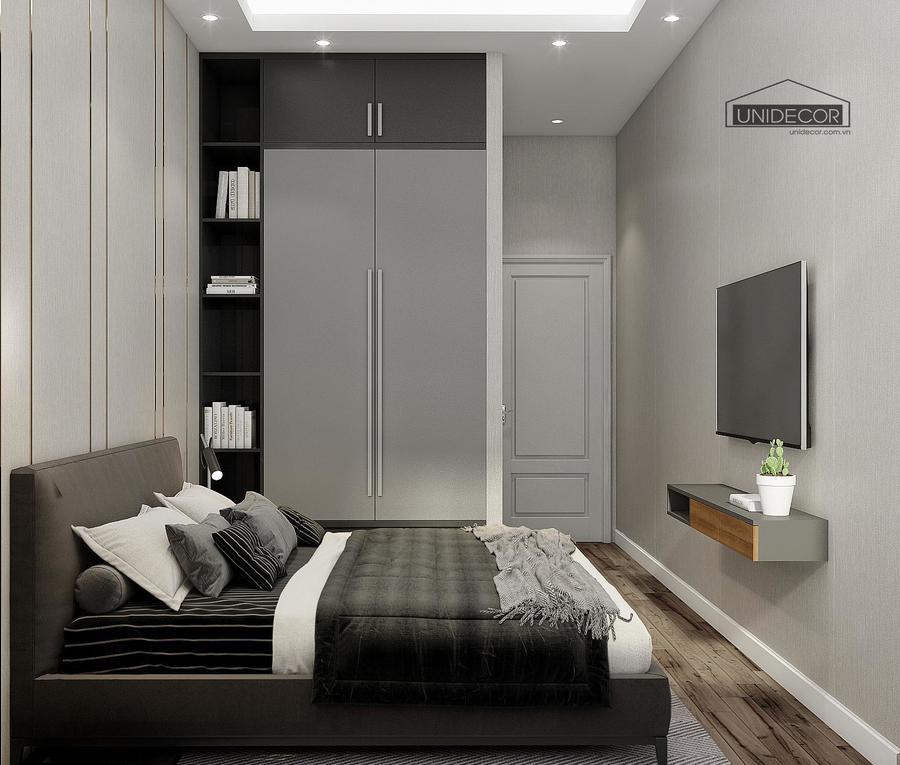 Phòng ngủ được thiết kế đủ tiện nghi, gam màu không chói sáng, gọn gàng tạo cảm giác thoải mái cho giấc ngủ