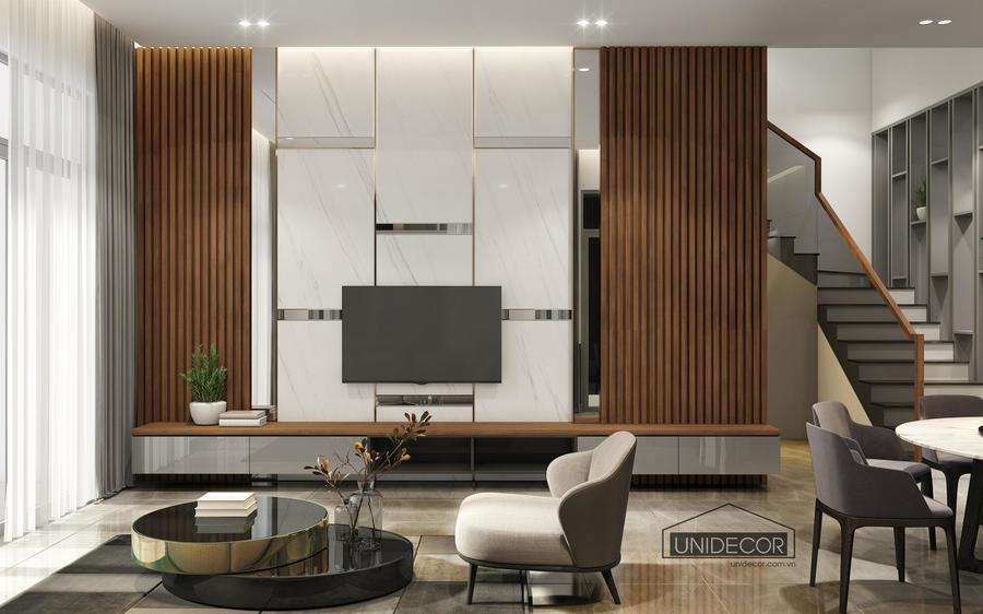 Phòng khách nhà phố được thiết kế tối giản, lấy sáng tự nhiên