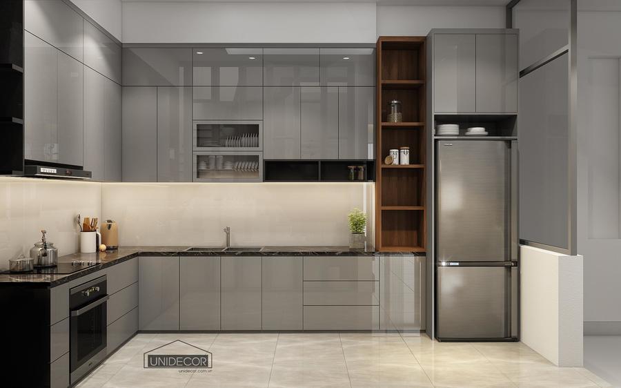 Phòng bếp tủ được ốp chất liệu cao cấp, sạch sẽ, màu sắc hài hòa tổng thể với ngôi nhà