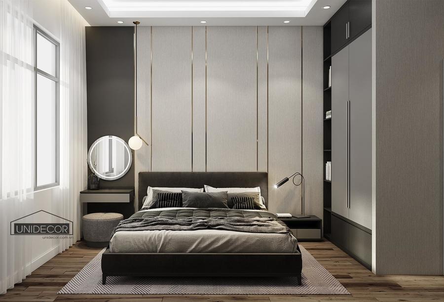 Tủ đổ thiết kế cao, rộng, tận dụng diện tích, tạo thêm điểm nhấn cho phòng ngủ