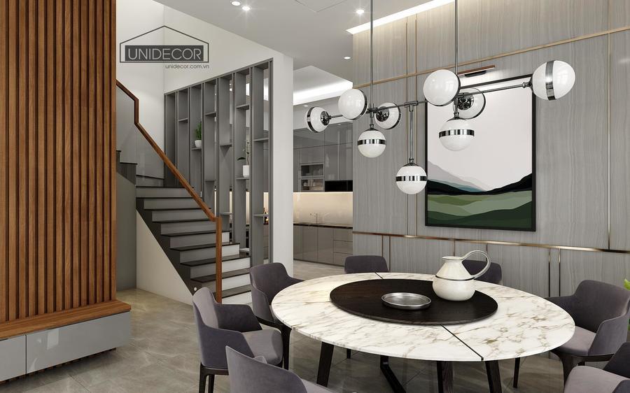 Phong cách thiết kế với gam màu xám trắng tôn thêm sự hiện đại của nhà phố