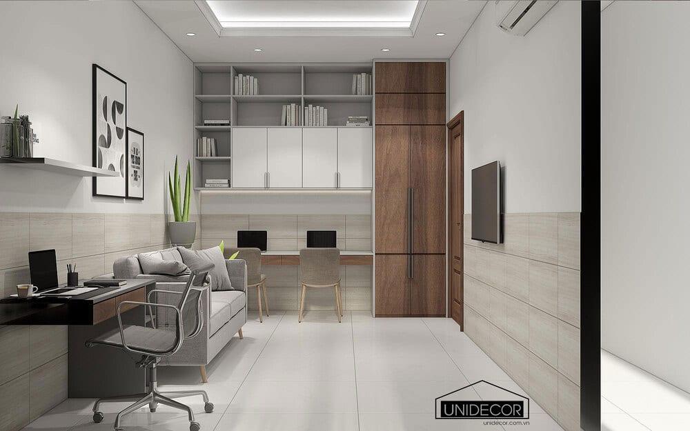 Khu vực phòng master để máy vi tính làm việc và đọc sách, giải trí