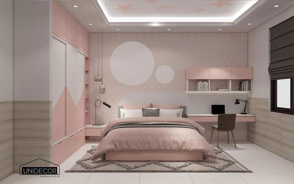 Gam màu hồng chủ đạo cho phòng ngủ con nhỏ