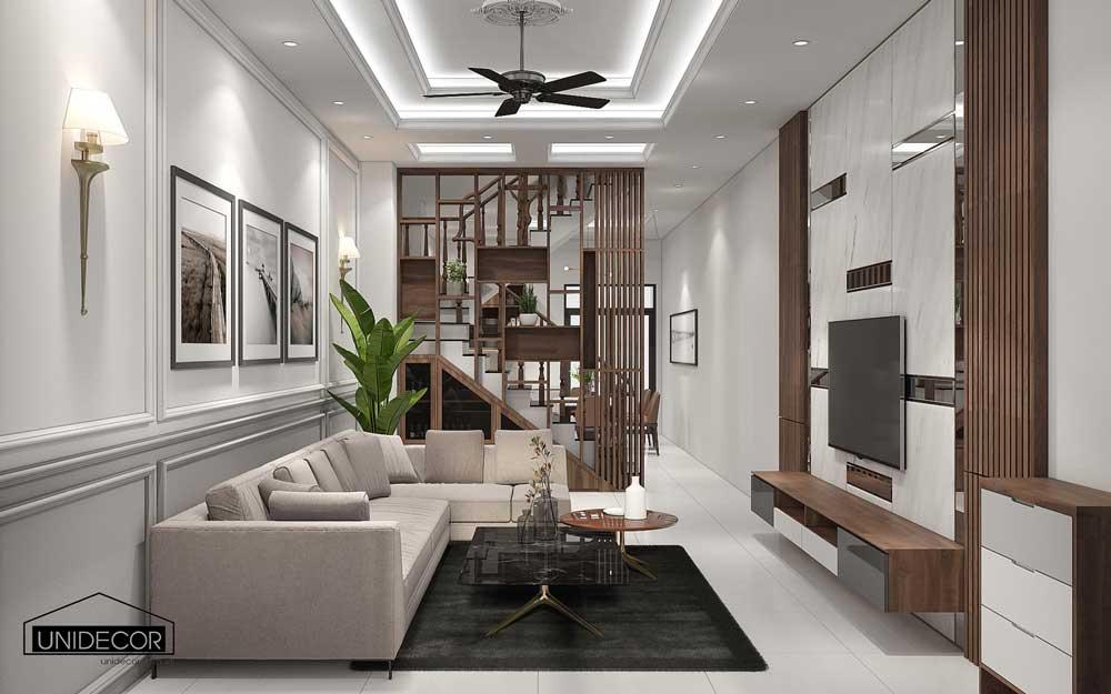 Tổng quan phòng khách nội thất với gam màu trắng sáng hiện đại, sang trọng