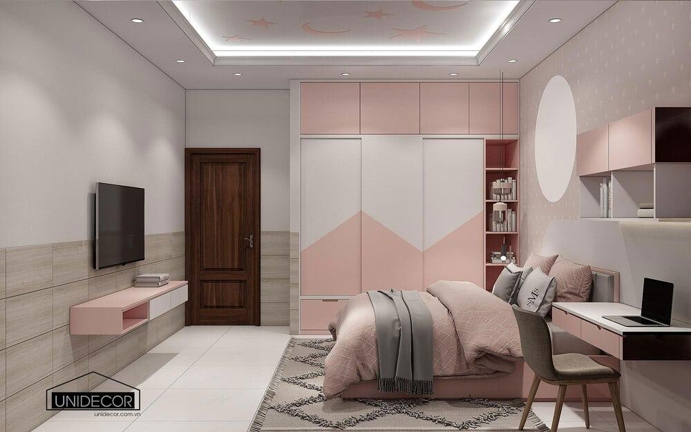 Phòng ngủ cho bé gồm kệ tivi, tủ treo đồ, giường và táp đầu giường đêu làm từ gỗ mdf cao cấp