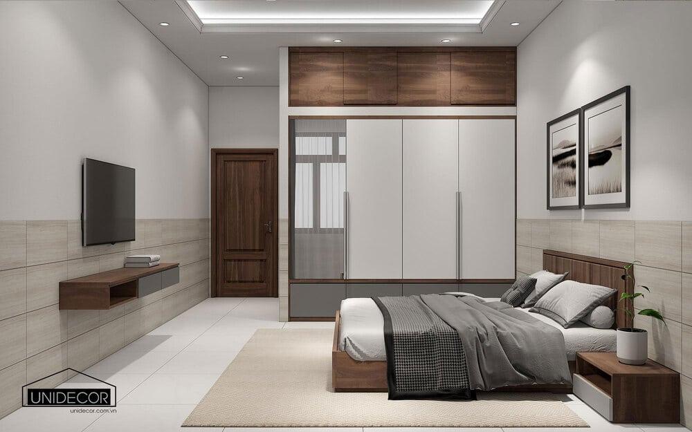 Không gian rộng thoáng, giúp cho giấc ngủ gia chủ được ngon và sâu hơn sau 1 ngày làm việc