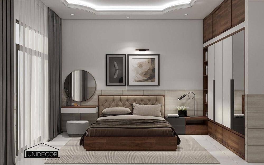 Bố trí phòng ngủ vợ chồng đủ tiện nghi với ánh sáng tự nhiên