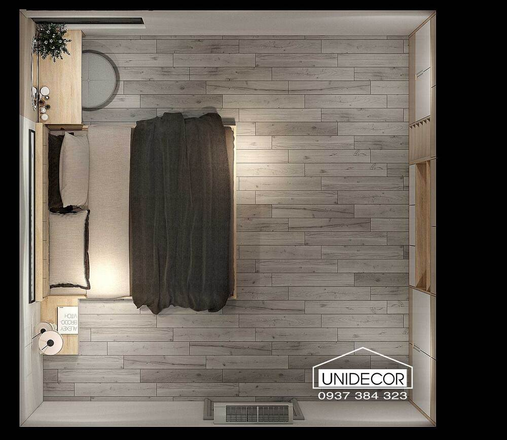 Nội thất phòng ngủ thứ hai nhìn từ trên xuống