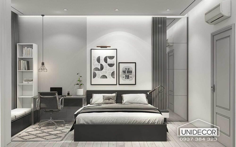 Thiết kế phòng ngủ hiện đại tông màu trắng xám