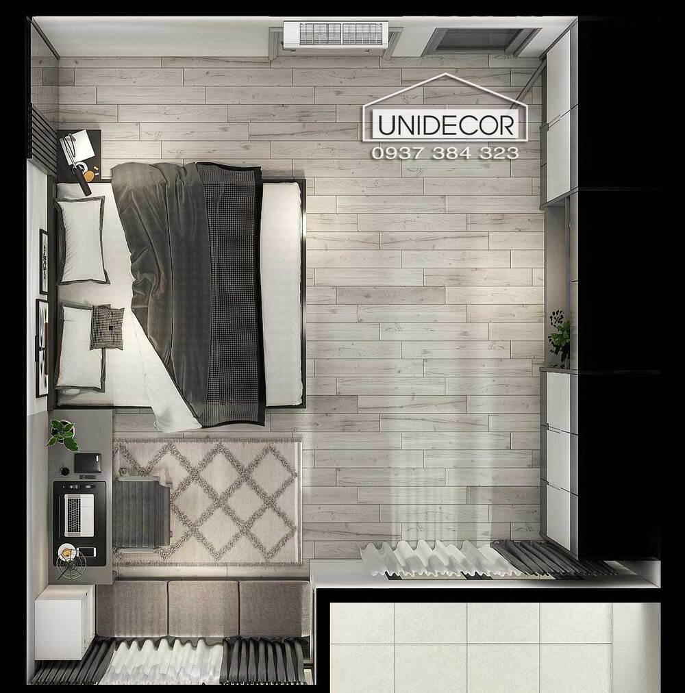 Nội thất phòng ngủ thứ nhất nhìn từ trên xuống