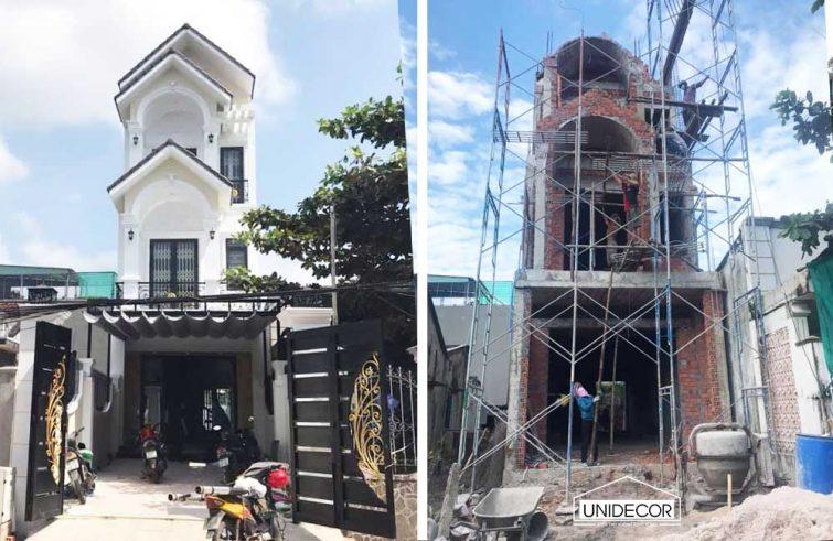 Xây dựng từ phần thô đến nhà hoàn thiện 3 tầng 5mx25m tại Tx Phú Mỹ