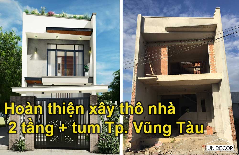 Hoàn thiện xây thô nhà 2 tầng mặt tiền 5m