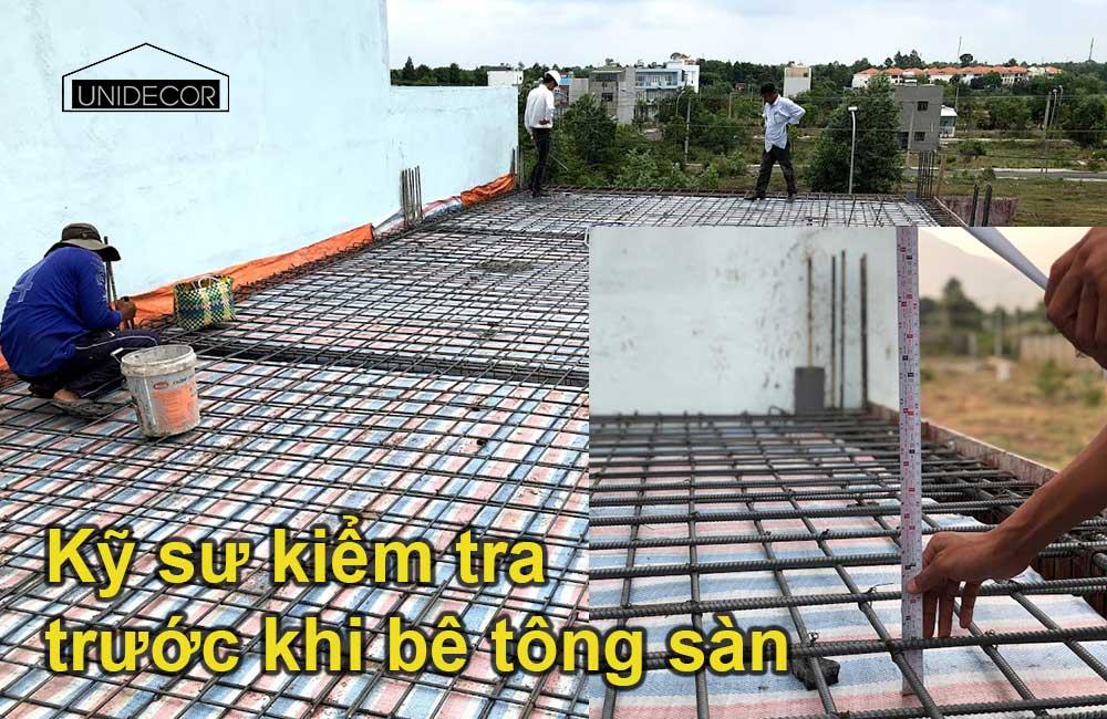 Kỹ sư khảo sát chất lượng và tiến độ công trình trước khi đổ bê tông