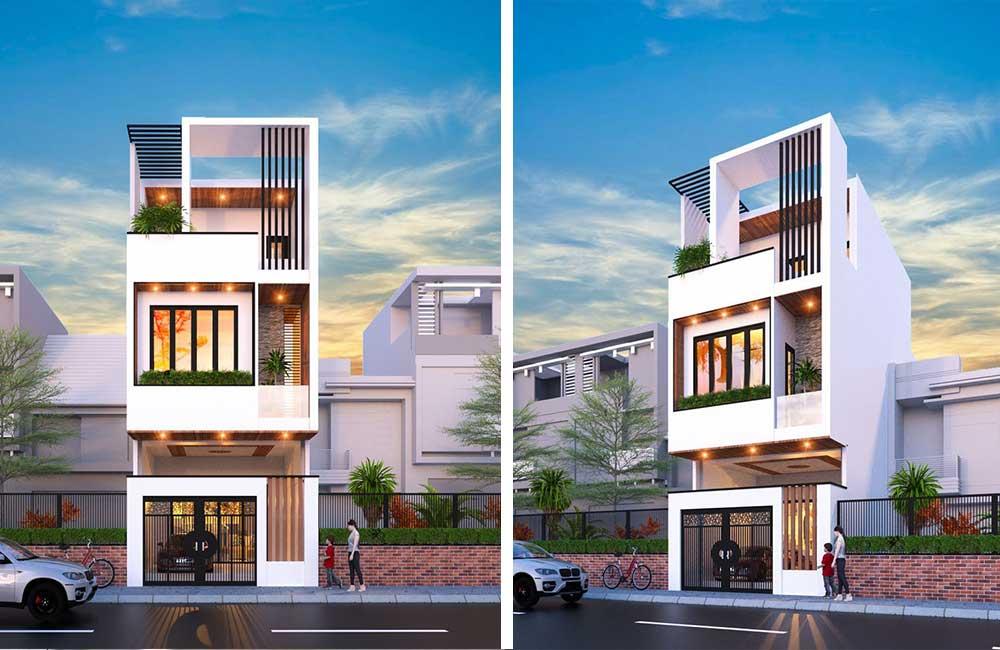 Thiết kế kiến trúc nhà phố 3 tầng phong cách tối giản