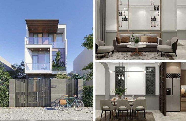 Thiết kế nhà phố kiến trúc 3 tầng ở Nội thất đính kèm Xuyên Mộc
