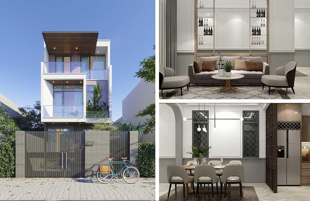 Thiết kế kiến trúc nhà phố 3 tầng ở Xuyên Mộc kèm nội thất
