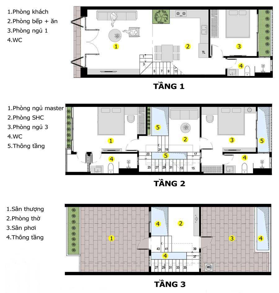 Mặt bằng nhà phố 3 tầng hiện đại