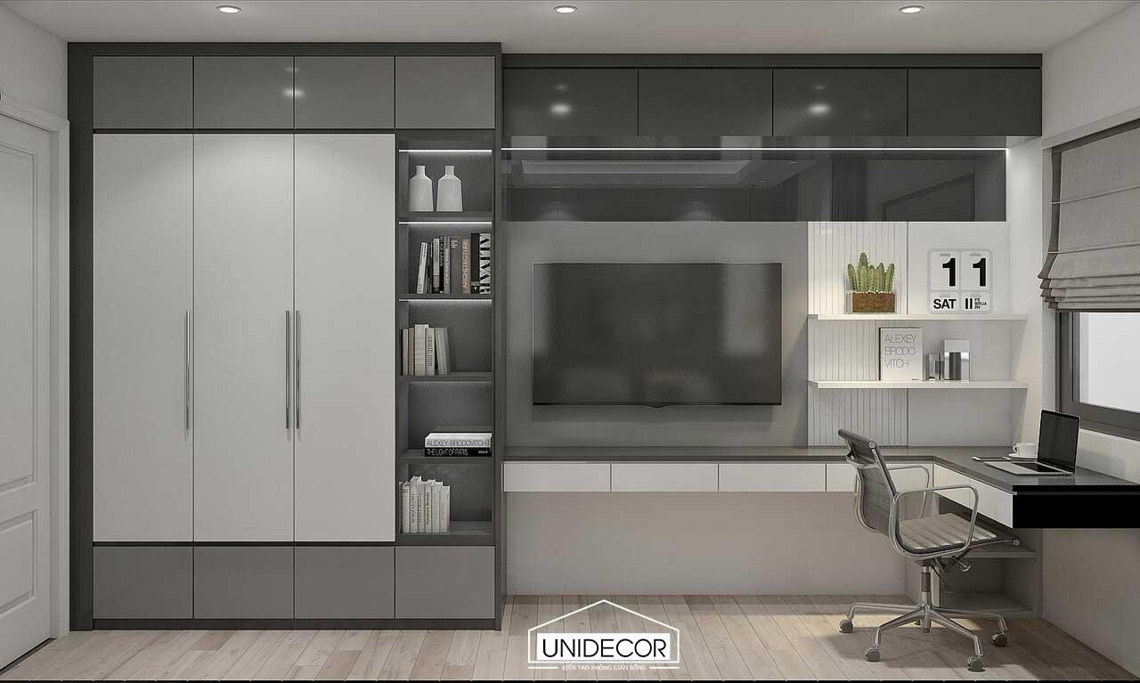 Hệ tủ đồ và tivi trong phòng ngủ