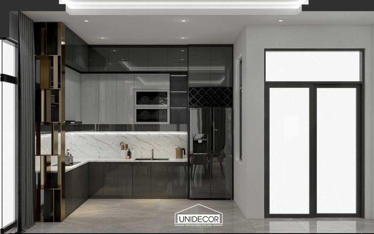 Hệ tủ bếp công nghiệp phủ acrylic