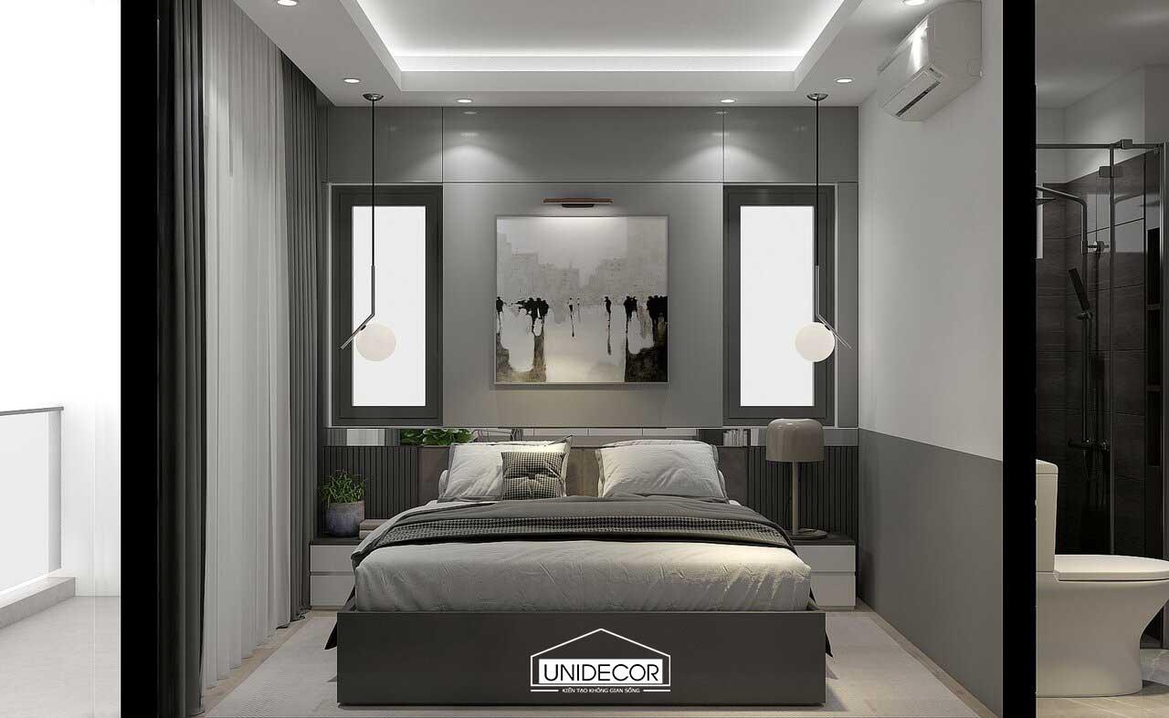 Phòng ngủ với tông màu trắng xám