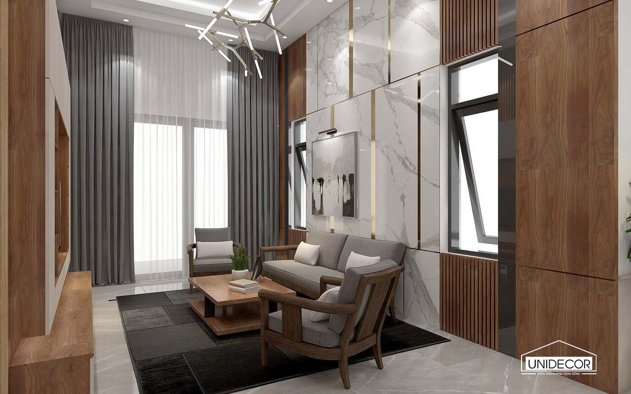 hệ lam gỗ và ốp đá vách sofa phòng khách