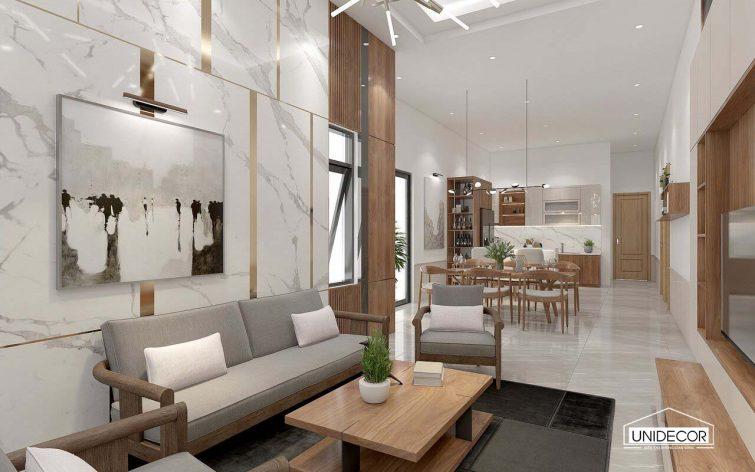 Nội thất phòng khách nhà cấp 4 mái thái