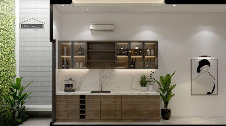 Không gian khu vực bếp thiết kế hiện đại
