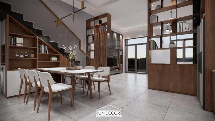 Nội thất phòng khách sử dụng chất liệu gỗ