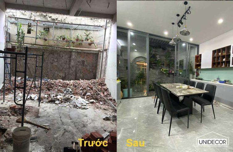 Khác góc nhìn của không gian bếp trước và sau khi cải tiến