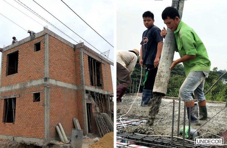 Đổ bê tông nóc nhà phố 2 tầng ở huyện Xuyên Mộc, BRVT