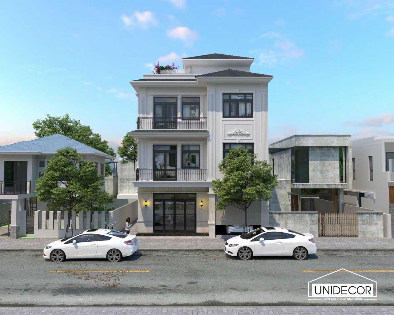 Thiết kế kiến trúc mặt tiền biệt thự nhà anh Sơn