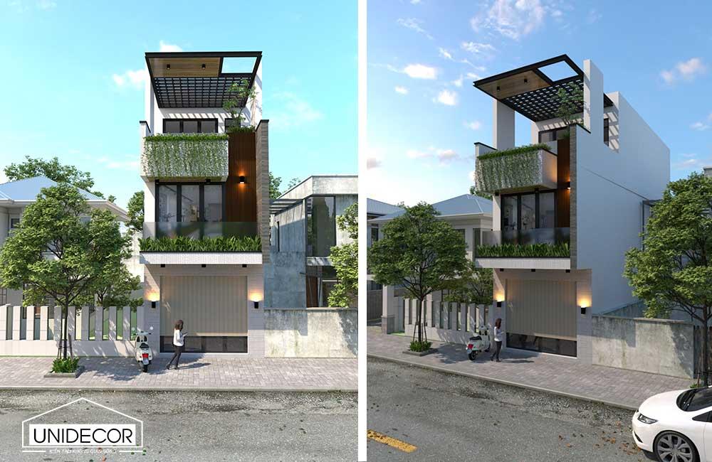 Thiết kế kiến trúc nhà phố 2 tầng 1 tum hiện đại ở Vũng tàu