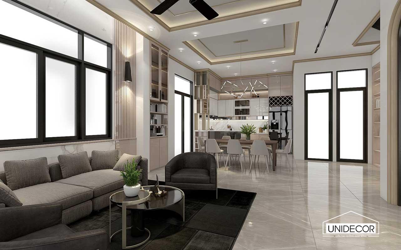 Thiết kế phòng khách biệt thự 3 tầng